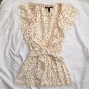 Gorgeous BCBG lace cream ruffled blouse XS